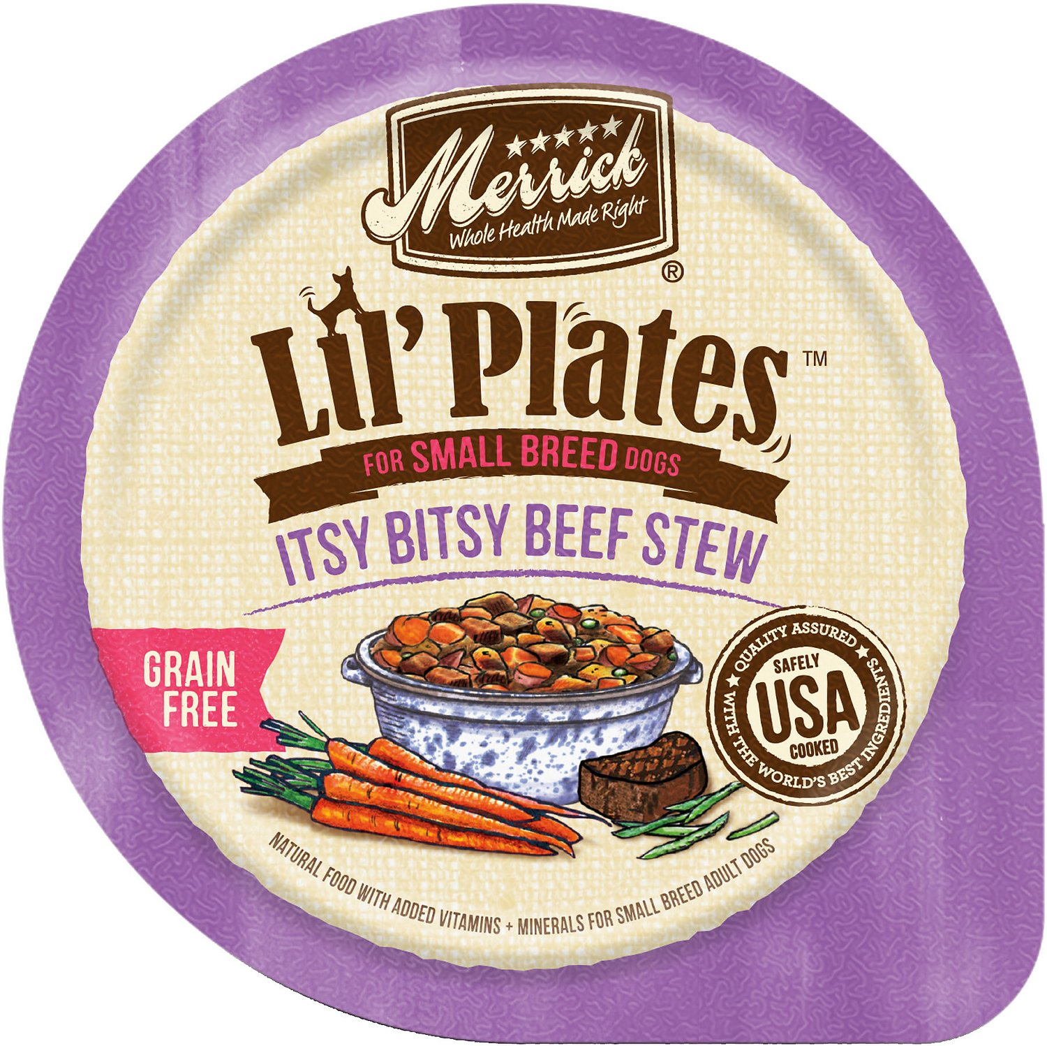Merrick Lil' Plates Grain-Free Itsy Bitsy Beef Stew Dog Food Trays, 3.5-oz