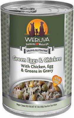 Weruva Dog Classic Green Eggs & Chicken with Chicken, Egg, & Greens in Gravy Grain-Free Wet Dog Food, 14-oz, case of 12