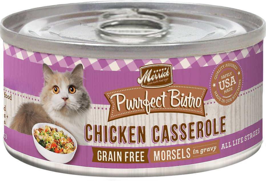 Merrick Purrfect Bistro Grain-Free Chicken Casserole Morsels in Gravy Canned Cat Food, 5.5-oz