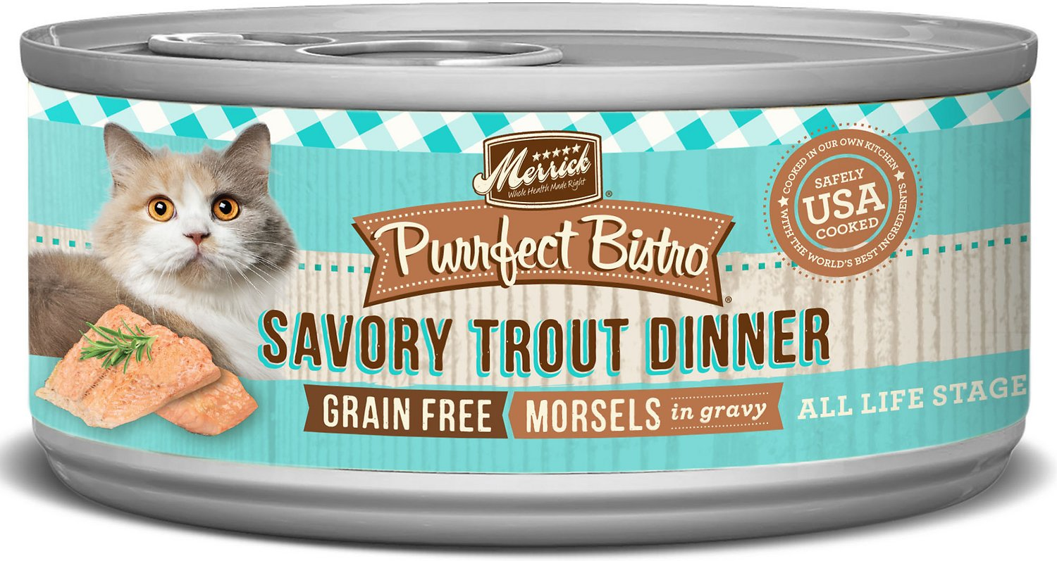 Merrick Purrfect Bistro Grain-Free Morsels in Gravy Savory Trout Dinner Canned Cat Food