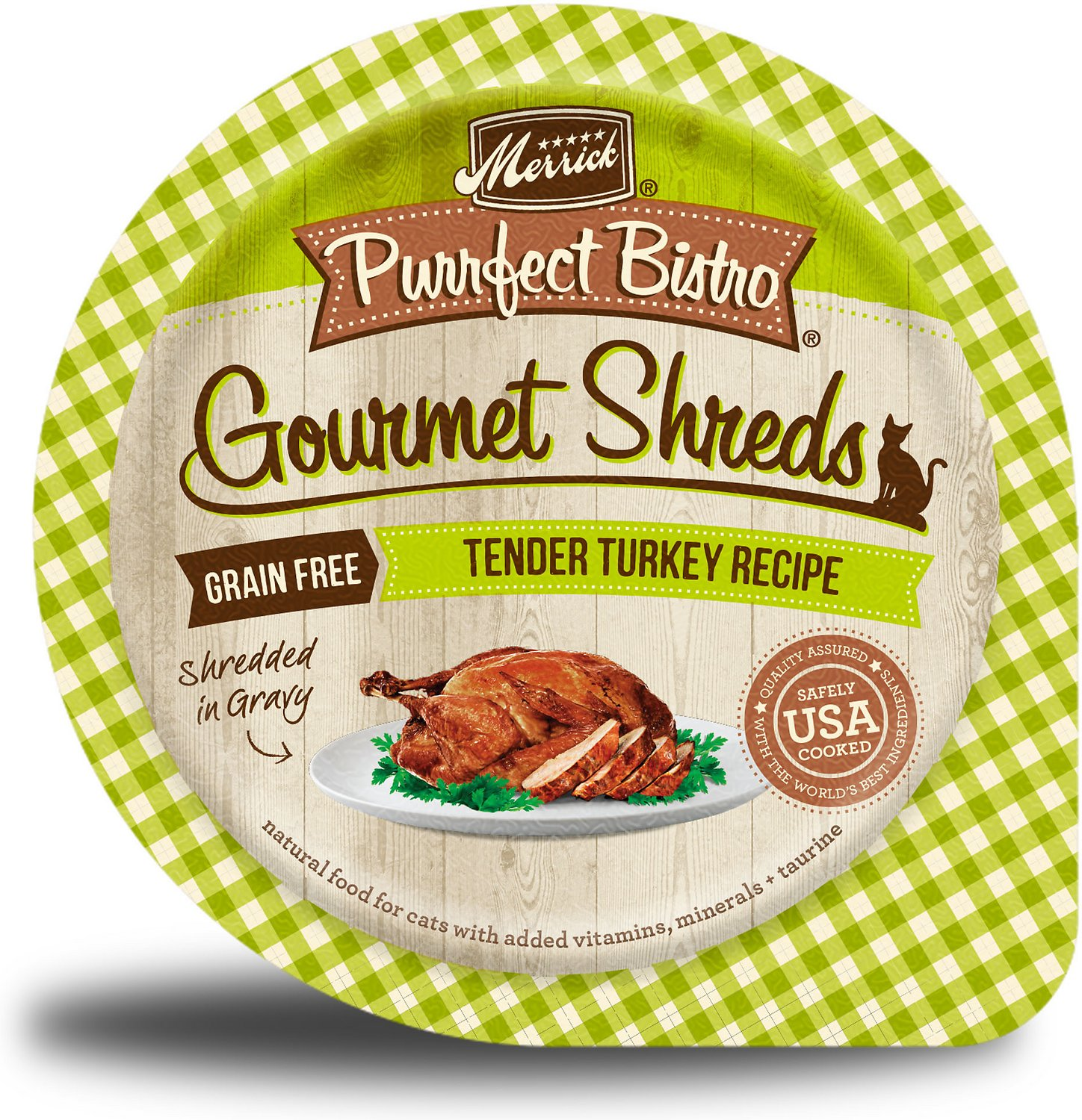 Merrick Purrfect Bistro Gourmet Shreds in Gravy Grain-Free Tender Turkey Recipe Cat Food Trays, 3.5-oz