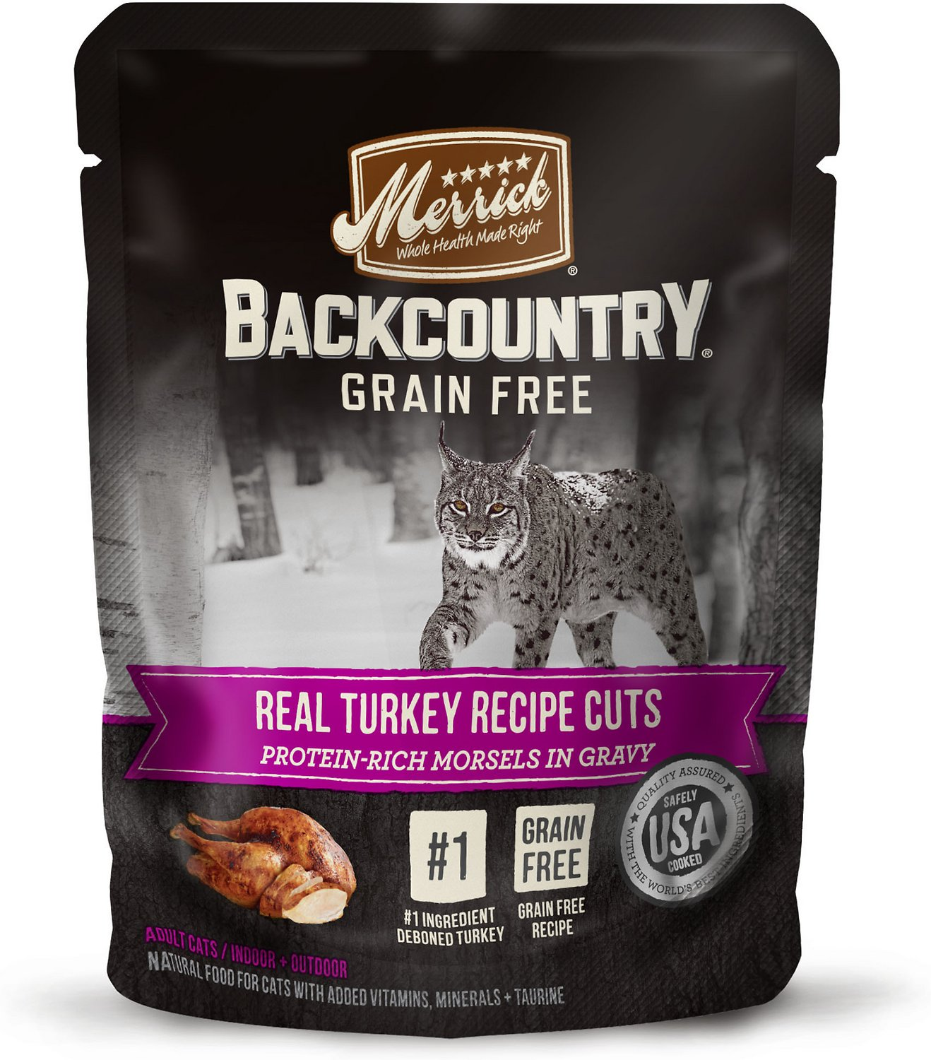 Merrick Backcountry Grain-Free Morsels in Gravy Real Turkey Recipe Cuts Cat Food Pouches, 3-oz