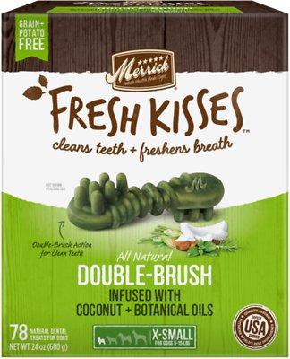 Merrick Fresh Kisses Double-Brush Coconut Oil & Botanicals Extra Small Grain-Free Dental Dog Treats