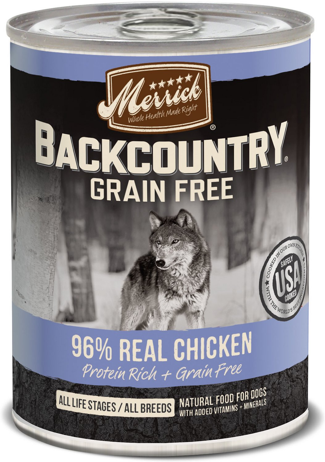 Merrick Backcountry Grain-Free 96% Real Chicken Recipe Canned Dog Food, 12.7-oz