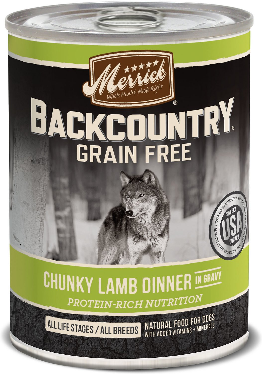 Merrick Backcountry Grain-Free Chunky Lamb Dinner in Gravy Canned Dog Food, 12.7-oz, case of 12