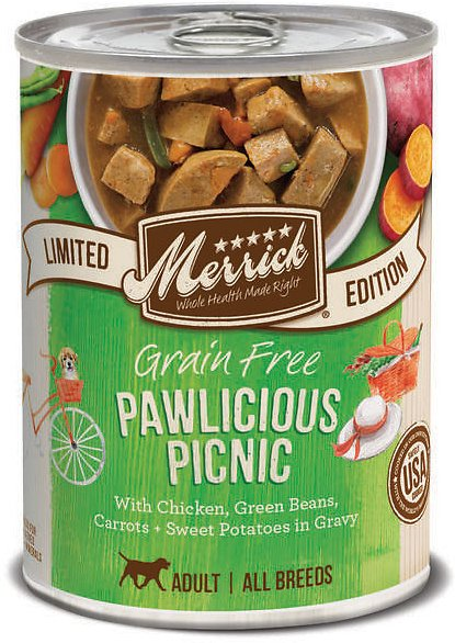 Merrick Limited Edition Grain-Free Pawlicious Picnic Adult Canned Dog Food, 12.7-oz, case of 12