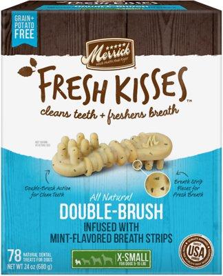 Merrick Fresh Kisses Double-Brush Mint Breath Strips Extra Small Grain-Free Dental Dog Treats