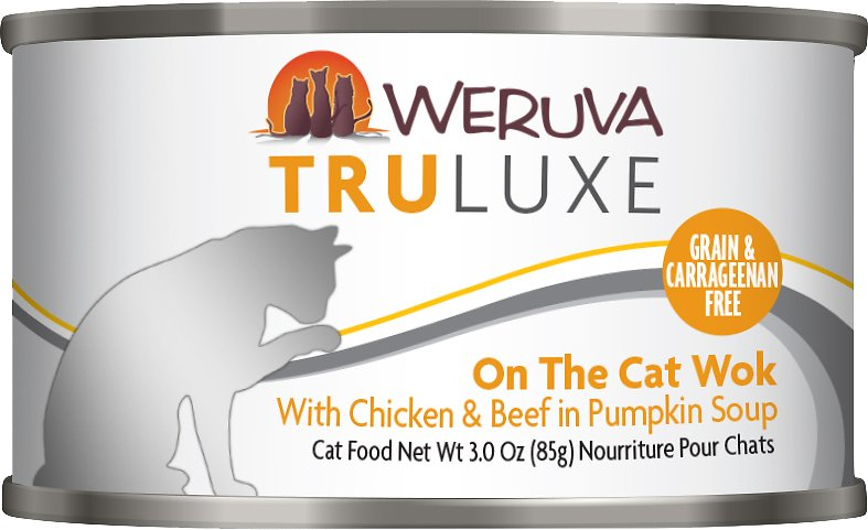 Weruva Cat Truluxe On The Cat Wok with Chicken & Beef in Pumpkin Soup Grain-Free Wet Cat Food, 6-oz