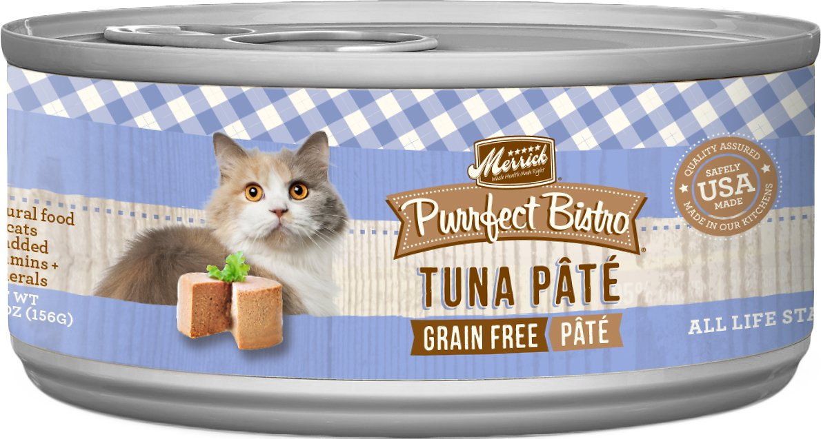 Merrick Purrfect Bistro Grain-Free Tuna Pate Canned Cat Food, 5.5-oz