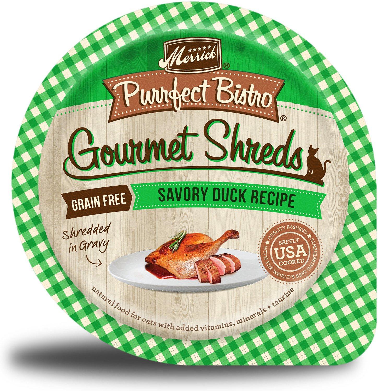 Merrick Purrfect Bistro Gourmet Shreds in Gravy Grain-Free Savory Duck Recipe Cat Food Trays, 3.5-oz