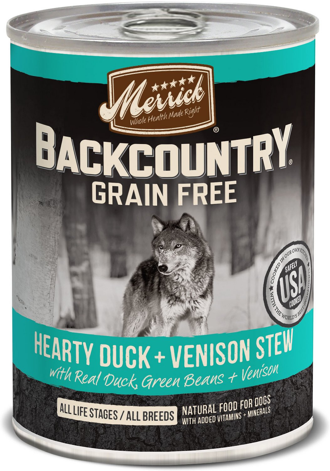 Merrick Backcountry Grain-Free Hearty Duck & Venison Stew Canned Dog Food, 12.7-oz, case of 12