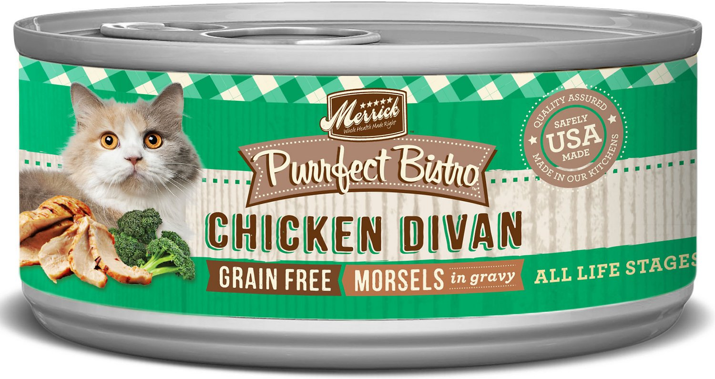 Merrick Purrfect Bistro Grain-Free Chicken Divan Morsels in Gravy Canned Cat Food, 5.5-oz