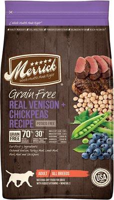 Merrick Grain-Free Real Venison + Chickpeas Recipe Dry Dog Food, 4-lb bag