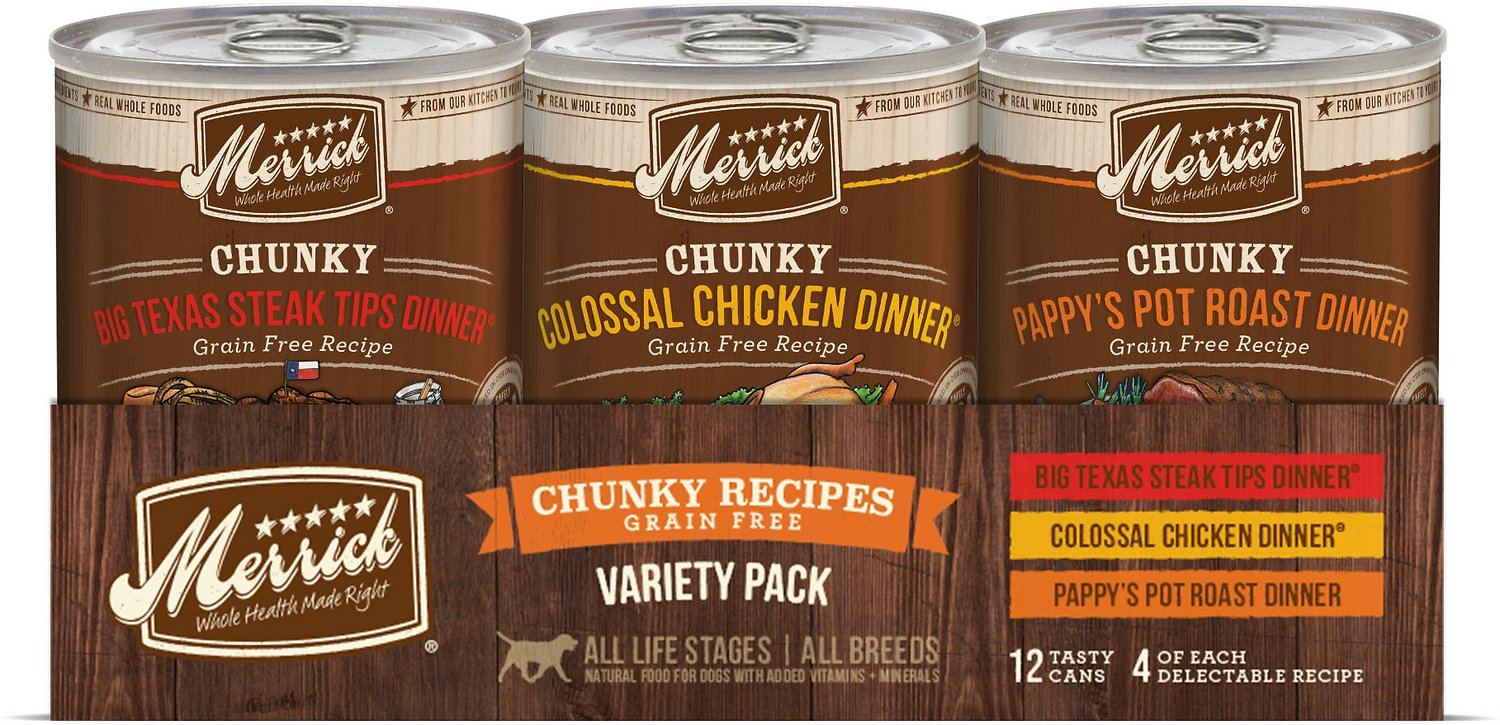 Merrick Chunky Recipes Grain-Free Variety Pack Canned Dog Food, 12.7-oz, case of 12