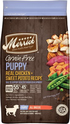 Merrick Grain-Free Puppy Real Chicken & Sweet Potato Recipe Dry Dog Food, 4-lb bag (original)