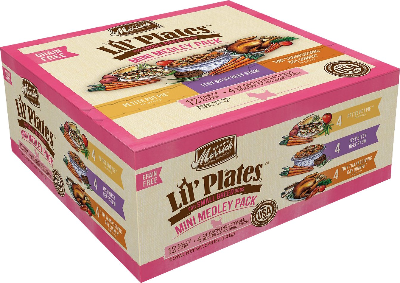 Merrick Lil' Plates Mini Medley Grain-Free Variety Pack Adult Dog Food Trays, 3.5-oz, case of 12