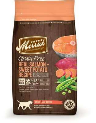 Merrick Grain-Free Real Salmon & Sweet Potato Recipe Adult Dry Dog Food, 4-lb bag (original)
