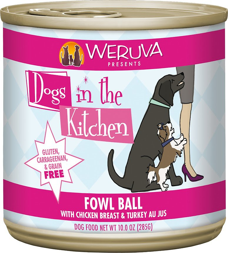 Weruva Dogs in the Kitchen Fowl Ball with Chicken Breast & Turkey Au Jus Grain-Free Wet Dog Food, 10-oz can, case of 12