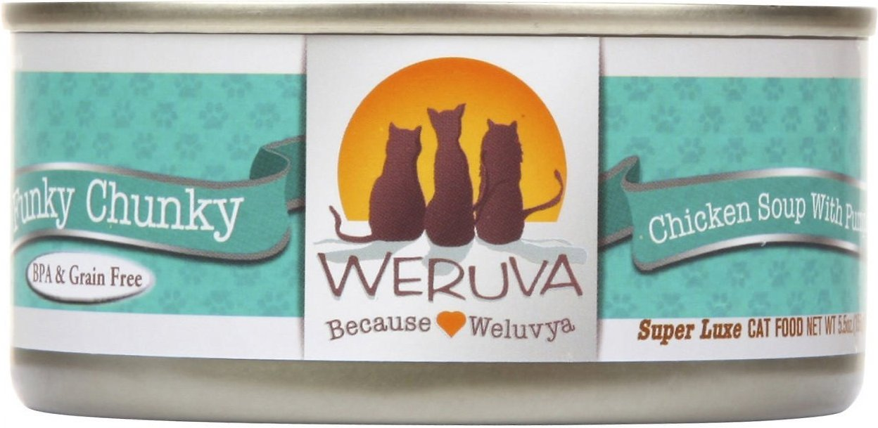 Weruva Cat Classic Funky Chunky Chicken Soup with Pumpkin Grain-Free Wet Cat Food, 5.5-oz