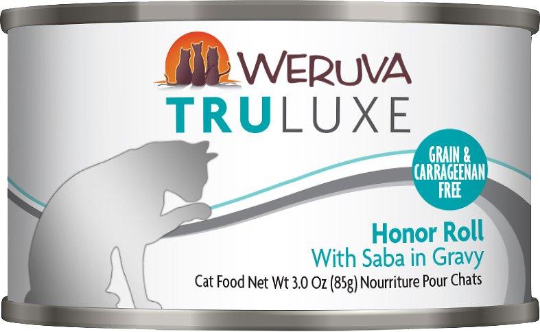 Weruva Cat Truluxe Honor Roll with Saba in Gravy Grain-Free Wet Cat Food, 3-oz