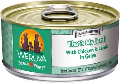 Weruva Dog Classic That's My Jam! With Chicken & Lamb in Gelee Grain-Free Wet Dog Food, 5.5-oz, case of 24