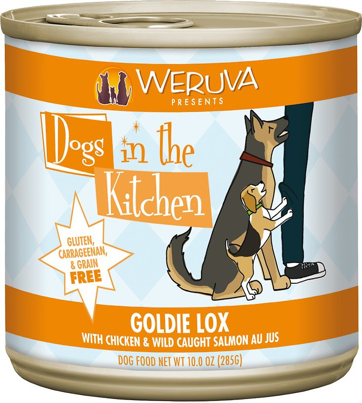 Weruva Dogs in the Kitchen Goldie Lox with Chicken & Wild Caught Salmon Au Jus Grain-Free Wet Dog Food, 10-oz can, case of 12