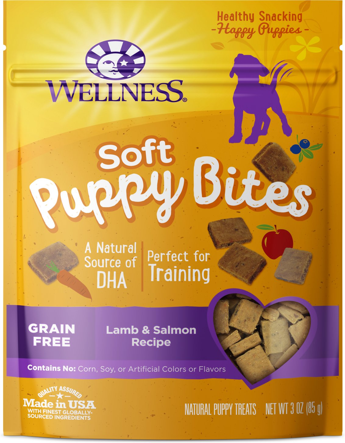 Wellness Soft Puppy Bites Grain-Free Lamb & Salmon Recipe Dog Treats, 3-oz