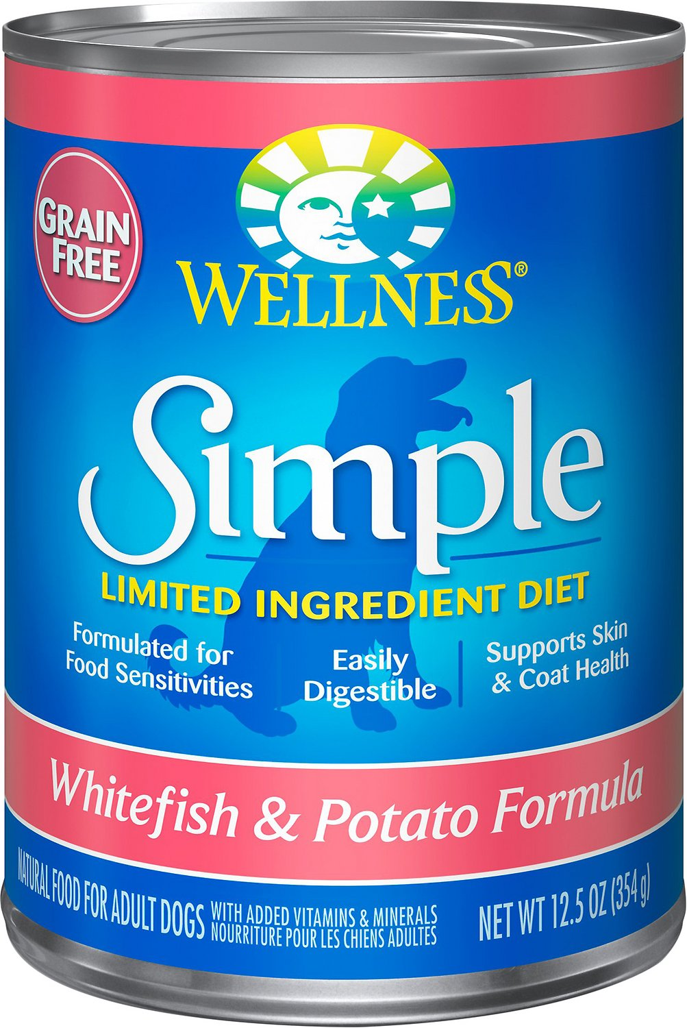 Wellness Simple Limited Ingredient Diet Grain-Free Whitefish & Potato Formula Canned Dog Food, 12.5-oz