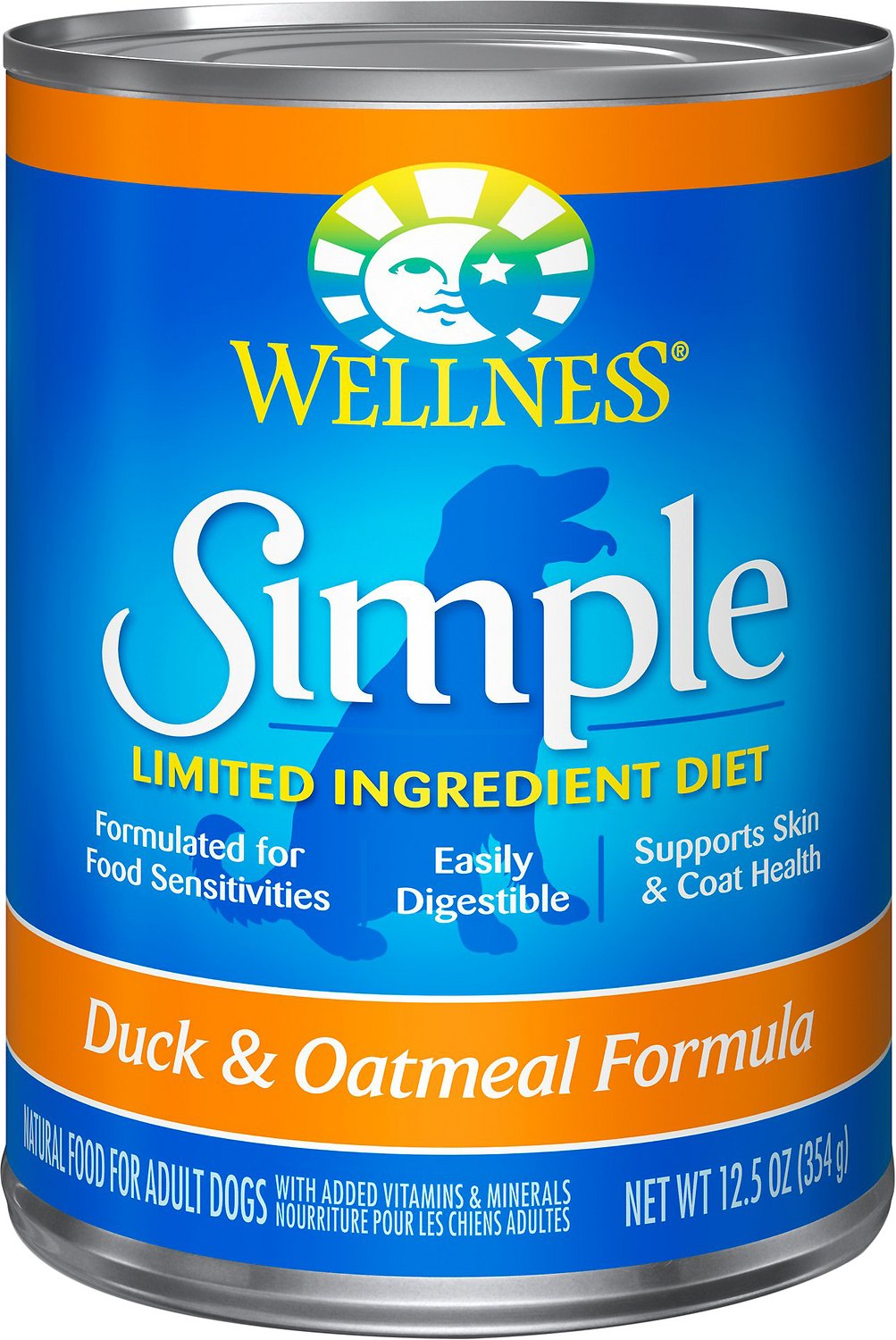 Wellness Simple Limited Ingredient Diet Duck & Oatmeal Formula Canned Dog Food, 12.5-oz, case of 12