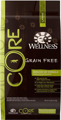Wellness CORE Grain-Free Reduced Fat Turkey & Chicken Recipe Dry Dog Food, 26-lb bag