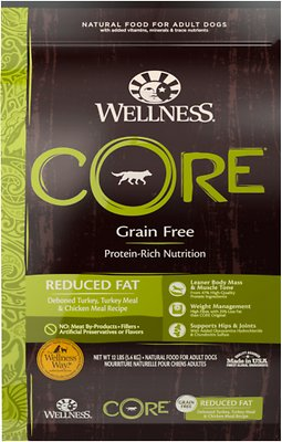Wellness CORE Grain-Free Reduced Fat Turkey & Chicken Recipe Dry Dog Food, 12-lb bag
