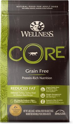 Wellness CORE Grain-Free Reduced Fat Turkey & Chicken Recipe Dry Dog Food, 4-lb bag
