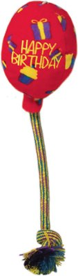 KONG Occasions Birthday Balloon Dog Toy, Red, Small