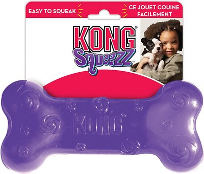 KONG Squeezz Bone Dog Toy, Color Varies, Large
