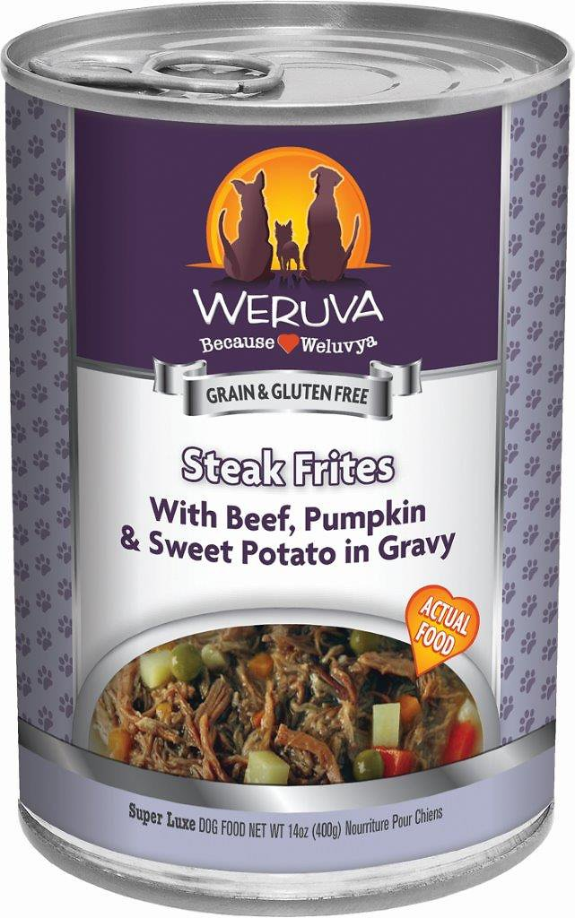Weruva Dog Classic Steak Frites with Beef, Pumpkin & Sweet Potatoes in Gravy Grain-Free Wet Dog Food, 14-oz
