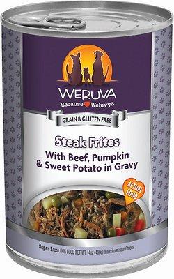 Weruva Cat Classic Steak Frites with Beef, Pumpkin & Sweet Potatoes in Gravy Grain-Free Wet Dog Food, 14-oz, case of 12