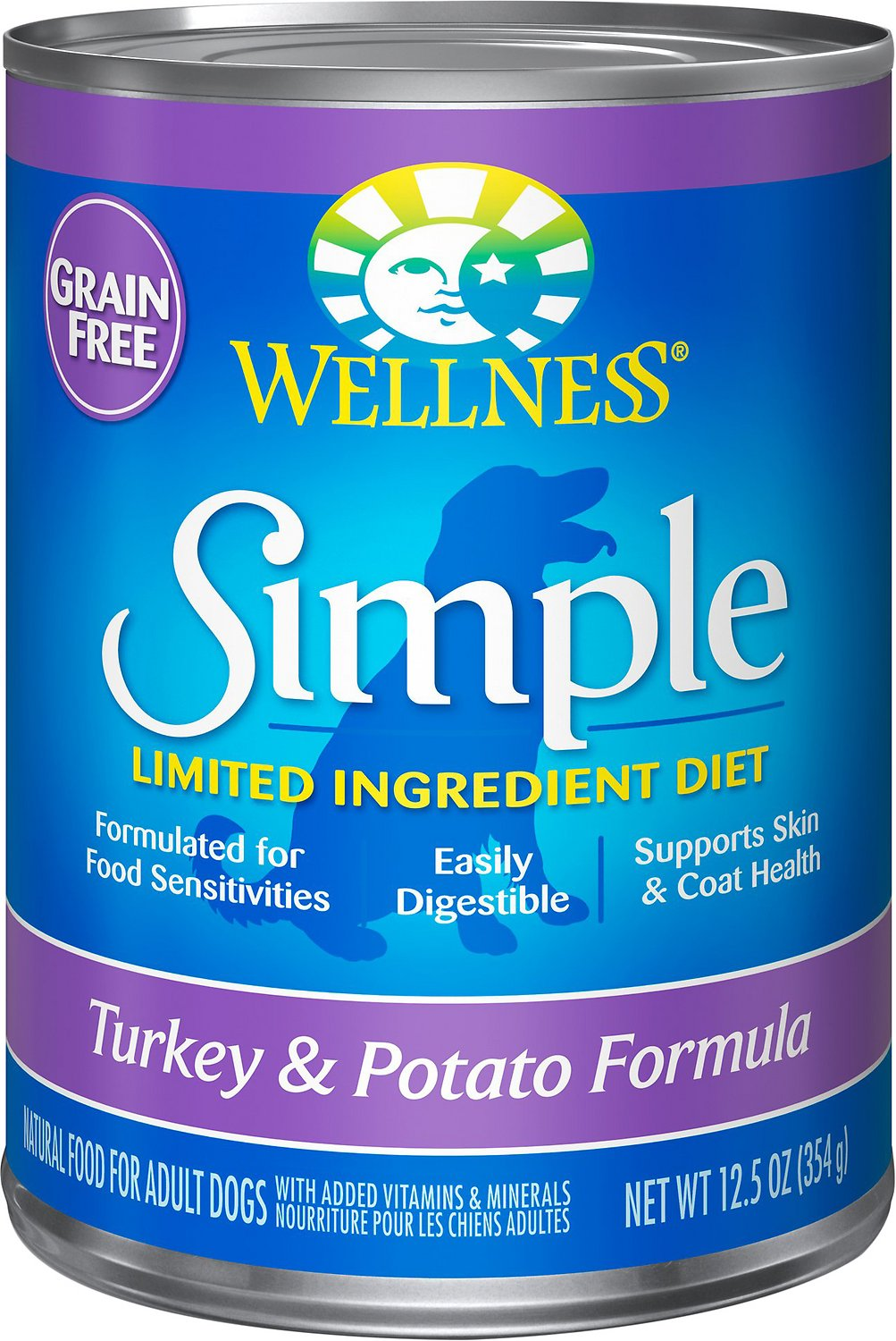 Wellness Simple Limited Ingredient Diet Grain-Free Turkey & Potato Formula Canned Dog Food, 12.5-oz