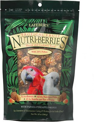 Lafeber Tropical Fruit Nutri-Berries Macaw & Cockatoo Bird Food, 10-oz bag