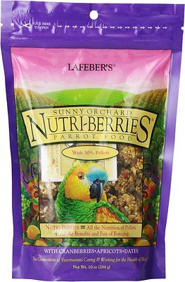 Lafeber Sunny Orchard Nutri-Berries Parrot Bird Food, 10-oz bag