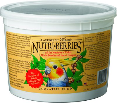 Lafeber Classic Nutri-Berries Cockatiel Bird Food, 4-lb tub
