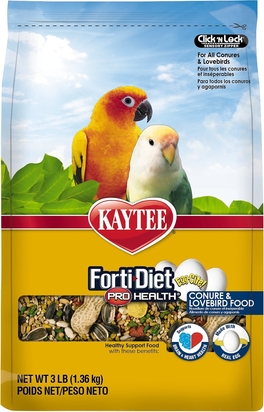 Kaytee Egg-Cite! Forti-Diet Pro Health Conure & Lovebird Bird Food, 3-lb bag