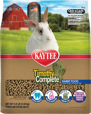 Kaytee Timothy Complete Alfalfa Free Fiber Diet Rabbit Food, 4.5-lb bag