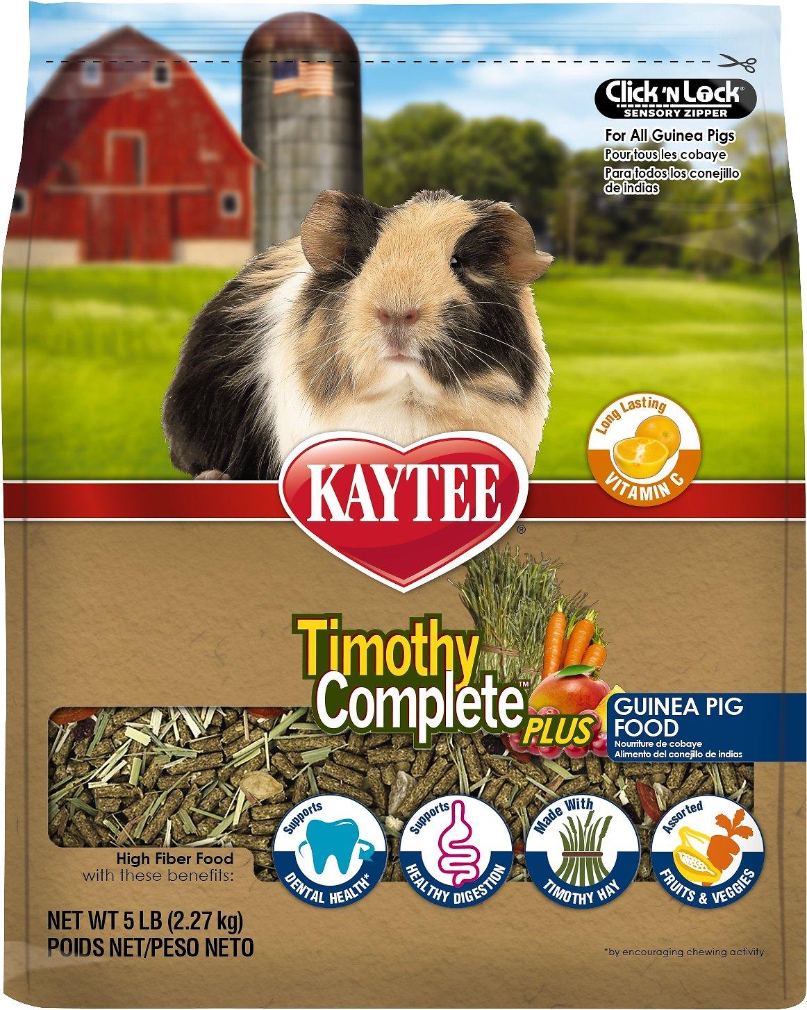 Kaytee Timothy Complete Plus Fruits & Veggies Fiber Diet Guinea Pig Food, 5-lb bag