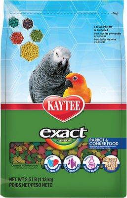 Kaytee Exact Rainbow Parrot & Conure Bird Food, 2.5-lb bag