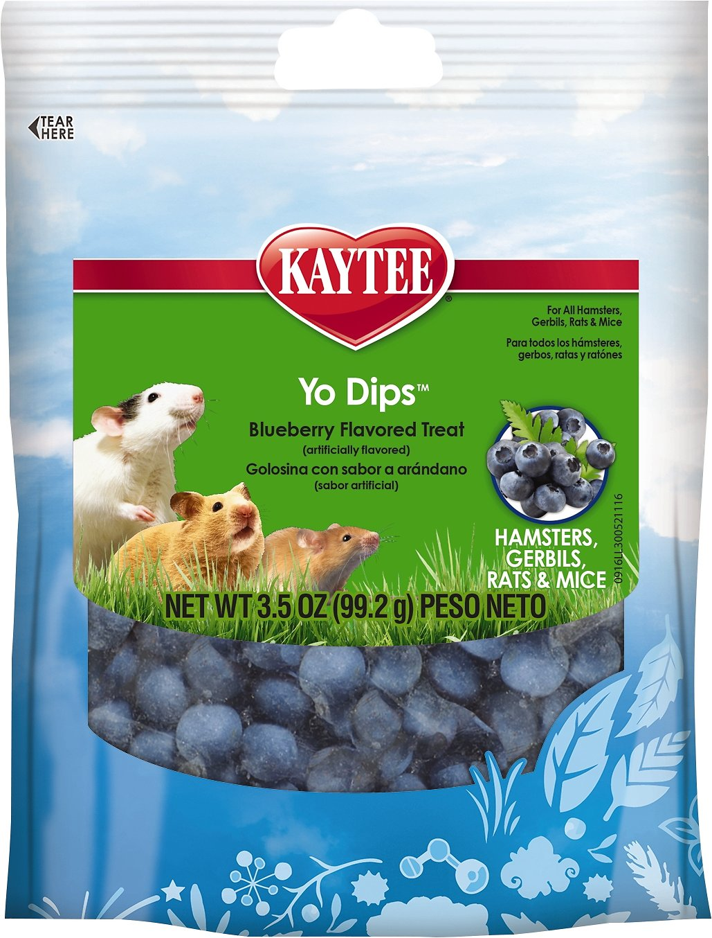 Kaytee Fiesta Blueberry Flavored Yogurt Dipped Hamster, Gerbil, Rat & Mouse Treats, 3.5-oz bag