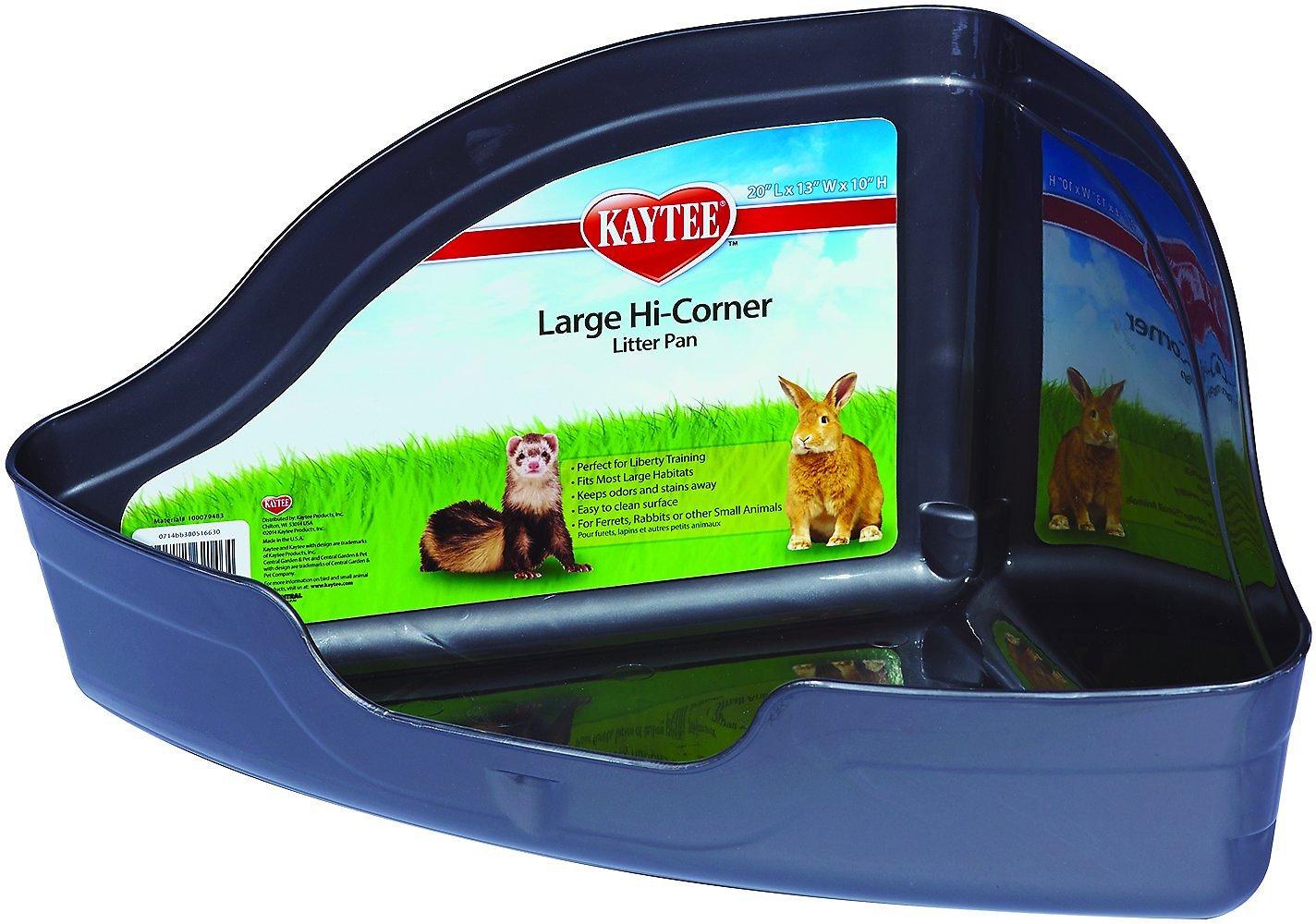 Kaytee Hi-Corner Small Animal Litter Pan, Large, Color Varies