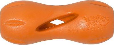 West Paw Qwizl Dog Toy, Tangerine Orange, Small