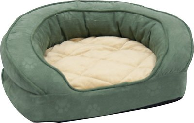 K&H Pet Products Deluxe Ortho Bolster Sleeper Pet Bed, Green