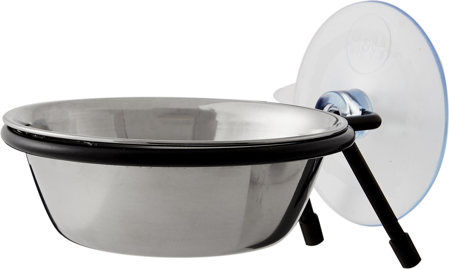 K&H Pet Products EZ Mount Up & Away Kitty Single Diner Cat Bowl, Stainless/Black, 12-oz