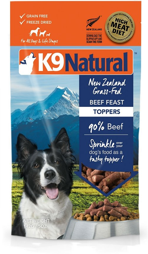 K9 Natural Beef Feast Grain-Free Freeze-Dried Dog Food Topper, 5-oz